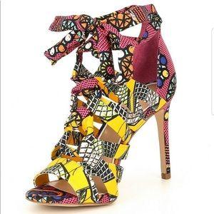 Gianni Bini Abrianna Printed Lace-Up Dress Sandals